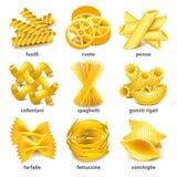 Pasta types icons vector set Royalty Free Stock Photos