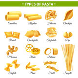 Pasta Types Infographics Stock Images