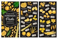 Pasta types menu, Italian cuisine. Italian pasta menu, cuisine dishes. Vector tagliatelle and farfalle, gnocchi and risoni, eliche and conchiglie, rigatoni and royalty free illustration