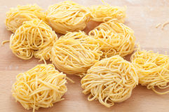Pasta typical of Piedmont called tajarin. Italy Royalty Free Stock Photo