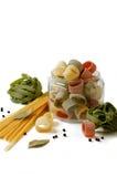 Pasta variation. Variation of italian macaroni on white background Stock Photography