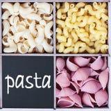 Pasta varieties and the inscription on blackboard Stock Image