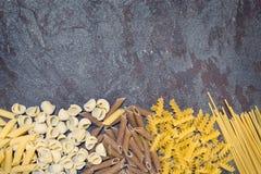 Pasta Varieties over Slate Royalty Free Stock Image