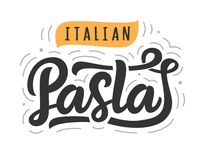 Pasta vector logo badge with hand written modern calligraphy royalty free illustration