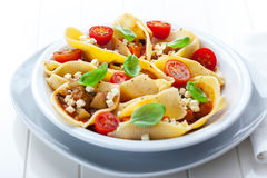 Pasta with vegetable stew Stock Images