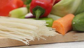 Pasta and vegetables Stock Photos