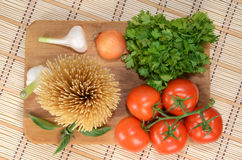 Pasta and vegetables Royalty Free Stock Images
