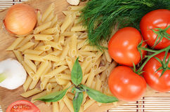 Pasta and vegetables Stock Image