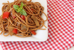 Pasta with vegetables and basil Stock Image