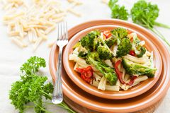 Pasta with vegetables. Italian food Royalty Free Stock Photography
