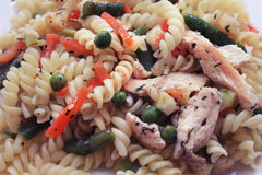 Pasta with vegetables and chicken. The second dish on the dining table or dinner Stock Images