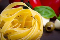 Pasta with vegetables for cooking stock photography