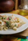 Pasta with vegetables in a creamy sauce Royalty Free Stock Images