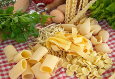 Pasta, vegetables, egg Stock Photo