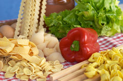 Pasta, vegetables, egg stock photos