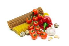 Pasta, vegetables and eggs on a white background Royalty Free Stock Photos