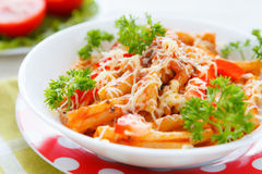 Pasta with vegetables and grated cheese with tomato sauce Royalty Free Stock Photos