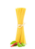 Pasta with vegetables isolated on white Stock Image