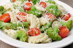 Pasta with vegetables and Parmesan Royalty Free Stock Photography
