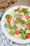 Pasta with vegetables and Parmesan Stock Photo