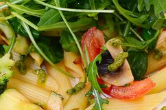 Pasta with vegetables and salad Stock Images