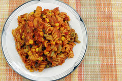 Pasta with Vegetables and Tomato Sauce Royalty Free Stock Photography
