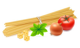 Pasta with vegetables vector illustration Stock Photography