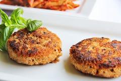 Pasta veggie burger Royalty Free Stock Images