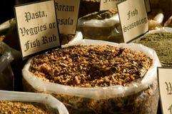 Pasta-, veggie- och fiskrub Arkivbild
