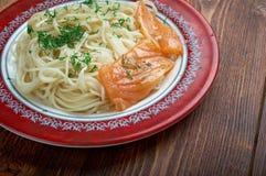 Pasta vermicelli with salmon Stock Photos