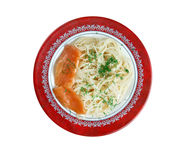 Pasta vermicelli with salmon Stock Photography