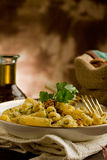 Pasta with Walnut pesto Stock Photos