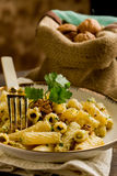 Pasta with Walnut pesto Stock Photo