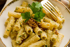 Pasta with Walnut pesto Stock Photography