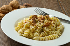 Pasta with a walnut sauce Royalty Free Stock Images