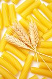 Pasta with wheat ears Royalty Free Stock Photography