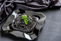 Pasta with wheat germ and black cuttlefish ink Stock Photography