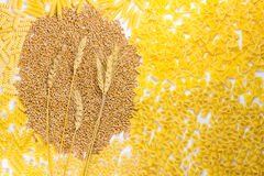 Pasta and wheat stem. Top view Stock Photography