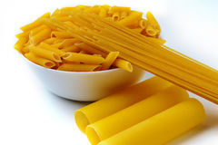 Pasta on a white background. Some pasta on a white background isolated Stock Images