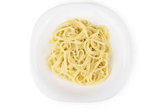 Pasta in white glass plate Royalty Free Stock Photos