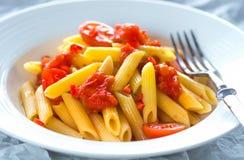 Pasta white tomato Stock Photography