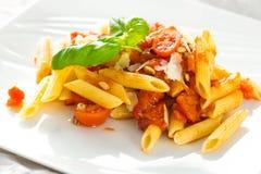 Pasta white tomato Stock Photo