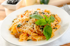 Pasta whith vegetables on the plate Royalty Free Stock Image