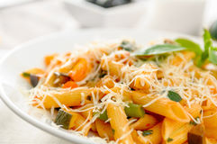 Pasta whith vegetables on the plate Royalty Free Stock Photo