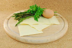 Pasta with wild asparagus Stock Photography