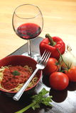 Pasta and wine royalty free stock photo