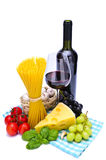 Pasta and wine. Italian pasta ingredients and red wine isolated on a white background Royalty Free Stock Image