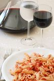 Pasta and wine stock image