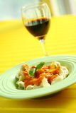 Pasta and wine Royalty Free Stock Images
