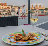Pasta and Wine Barcelona Stock Photo